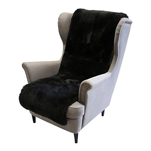 Hollert German Leather Fashion Lammfell - SESSELAUFLAGE GESCHOREN Sitzauflage Unterbett Merino Fellauflage 160x50 cm Farbe Schwarz