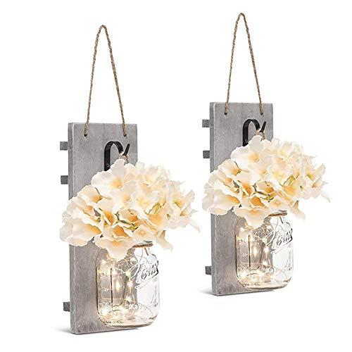 barattolo di vetro luce a parete, 2 pz vintage fata applique - led stellato lanterna da appendere - con artificiale fiore - per attico cucina soggiorno - come da foto, 27 * 16 * 16cm