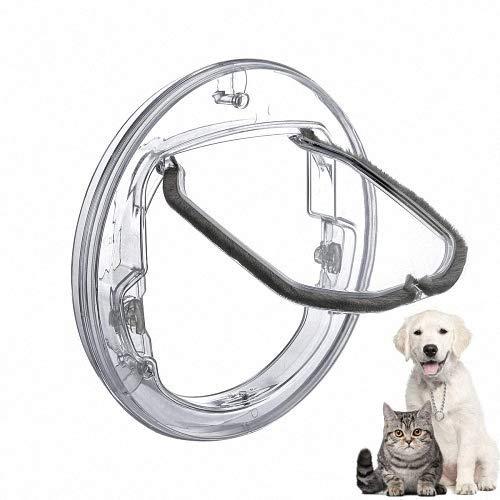 DSGYZQ Katzentür, Türmontageadapter, Hundetürschloss mit 4 Möglichkeiten, Transparente Rundtür mit Futter -