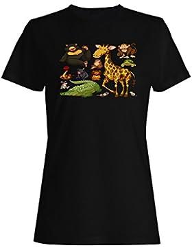 Nuevos Tipos Diferentes Animales Salvajes camiseta de las mujeres h477f