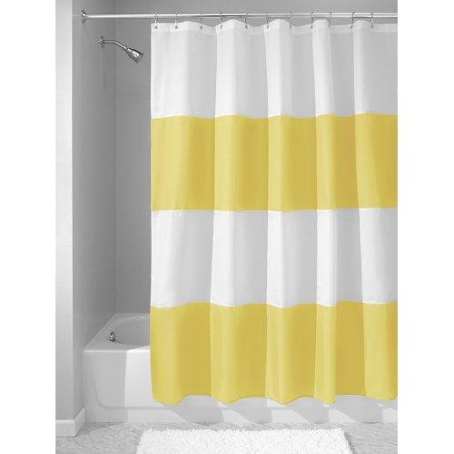 iDesign Zeno Duschvorhang Textil | wasserdichter Duschvorhang mit Streifen | waschbarer Duschvorhang in der Größe 183,0 cm x 183,0 cm | Polyester gelb/weiß