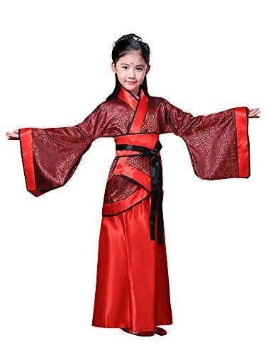 Kostüm Traditionelle Kinder Chinesische - KINDOYO Chinesisches Hanfu - Mädchen Red Retro Hanfu Kinder Traditionelle Bühne Kostüme,Rot (Stil 1),EU 140=Tag 150