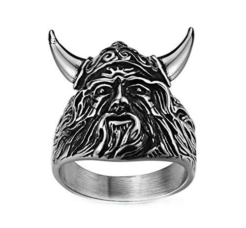 Ueice Herren Jahrgang Schwarz Öl Stier Horn Rostfreier Stahl Ringe,Größe 57 (18.1) - Stahl-schuh-horn