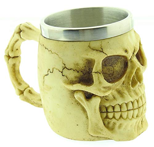 Skull Mug - 3D - Cranium - Skeleton - Stainless Steel - Resin - Beer Mug - Horror - Gothic - Gift Idea - Drinks - Coffee - Man - Viking - Medieval - Halloween