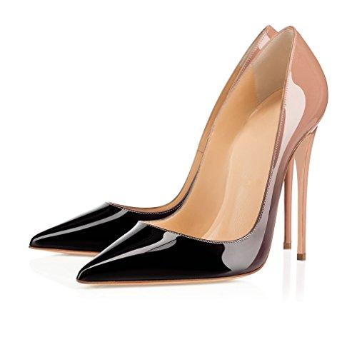 EDEFS Damen Hoch Absatz Pumps Spitze Zehe Elegant High Heels Schuhe Nude