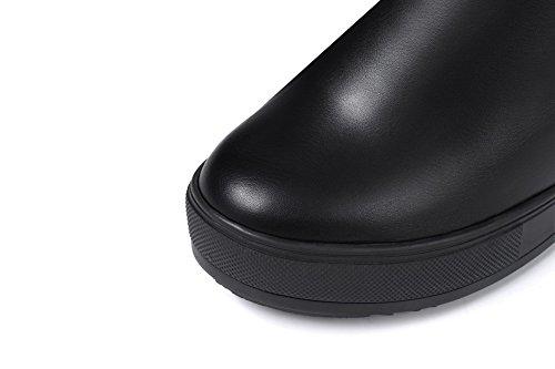 Weiches Absatz spitze Damen Allhqfashion Hoher Material Schwarz Rein Rund Stiefel Zehe Hoch 5OxqS