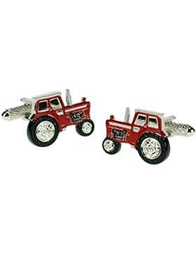 Traktor-Manschettenknöpfe, Rot