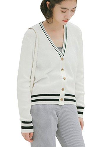 JOTHIN College Collo V Sweater Manica lunga Giuntura Maglia Cardigan Pulsanti Letteratura e arte Maglieria Student vintage Maglioni Donna Bianco