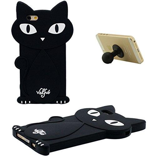 iPhone 6S Coque Étui Anti Choc Joli 3D Cheval noir Désign Populaire Doux Silicone Gel Coque Protection Case pour Apple iPhone 6 6S 4.7 inch avec 1 Silicone Titulaire noir