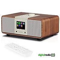 LEMEGA M3i DAB/DAB+/FM Radio with Bluetooth, Internet Radio, Spotify, Headphone-out, USB MP3, Presets, AUX, Clocks, Alarms, Sleep, Snooze, Colour Screen, Remote & App Control (Walnut)