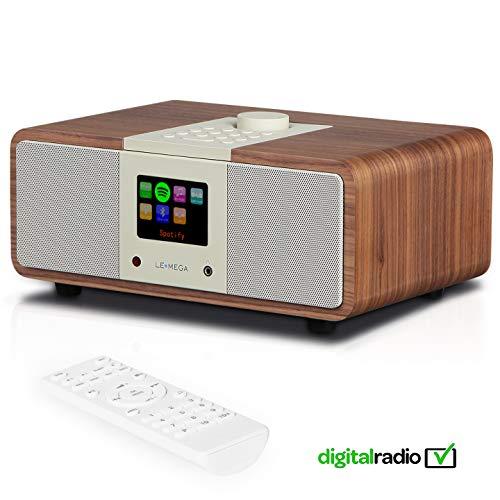 LEMEGA M3i Smart Music System (2.1 Stereo) mit Wi-Fi, Internetradio, Spotify, Bluetooth, DLNA, DAB, DAB+, UKW-Radio, Uhr, Wecker, Voreinstellungen und drahtloser App-Steuerung - Nussbaum (Wi Fi Stereo System)