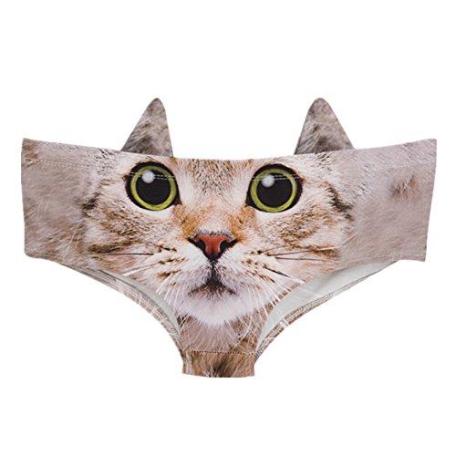 Katzen Mit Wilden Arten Von (Frauen Grünes Auge Niedlich Katze Schlüpfer Tanga Strings Mit Ohren One Size)