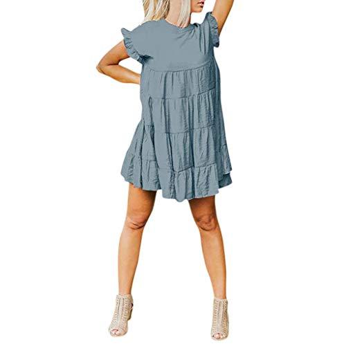 Supertong Damen Rüschen Cocktailkleid Einfarbig Rundhals Kurzarm Minikleid Sommerkleider Knielange Leinen Kleid Strandkleid Mode Elegant Baumwolle Maxikleid Ruffle Petticoat Slip