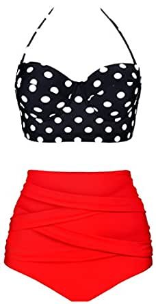 Aixy Femme 50s Vintage Polka Dot Bikinis Taille Haute Dos Nu Maillots de Bain