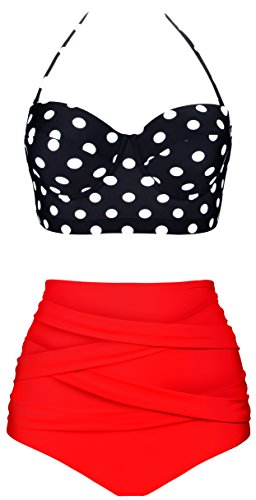 Aixy Frauen Vintage Polka Dot Hoch Taille Halter Strap Bademode Bikini Zwei Stück Badeanzüge (Halter Bikini Stück Zwei)