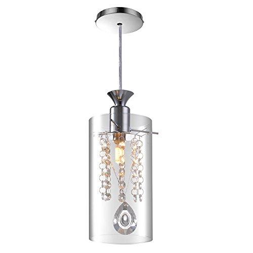 Litehaus Moderne Klar Kristall Pendelleuchte Zylinderform Glas Schrim für Schlafzimmer (Mit 5W Leuchtmittel) Stehleuchte Schlafzimmerleuchte Hängeleuchte Wohnzimmerlampe