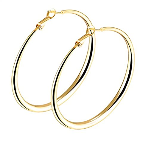 HIJONES Womens 18K Gold/Platinum Plated Tone Circle Ring Hoop Earrings, Gold 60mm
