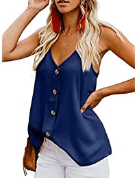 f8b381a719def0 Yidarton Women s Summer Casual Loose V Neck Chiffon Button Down Spaghetti  Strap Cami Vest Solid Color Floral Striped Tank Tops Sleeveless…