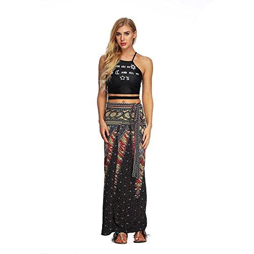 Röcke Damen Nationaler Stil Druck Rock Elastische Taille Lange Hippie Gypsy Boho elastischen Blumen Halfter Rock, Kleider Sportswear-RöckeFreizeitkleider (One Size, A)