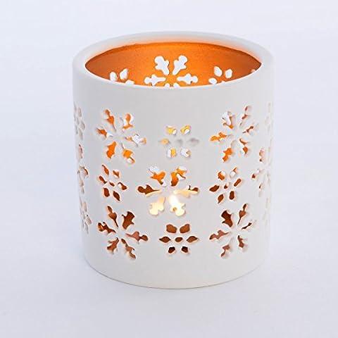 1große Cut Out Schneeflocke Design Porzellan Teelicht/Votivkerze