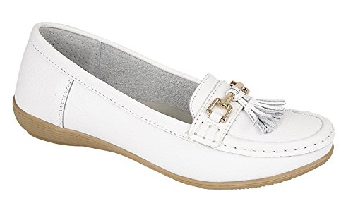 Damen Wohnungen Leder Deck Boot Loafer Mokassins Driving Schuhe mit Bar & Quasten Größe UK 3-8, Weiß - weiß - Größe: 37.5/5 UK (Mokassin-pumps Schuhe)