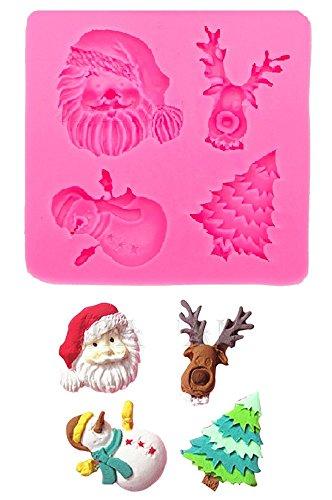 Evrylon stampo in silicone per uso artigianale con il calco di babbo natale - renna - albero natalizio - pupazzo di neve
