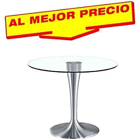 MESA DE COMEDOR REDONDA DE CRISTAL DISEÑO MODERNO MINIMALISTA MODELO STATE 120 CM - OFERTAS HOGAR -¡AL MEJOR PRECIO! -ACABADO