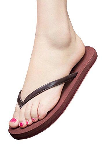 Wealsex Tongs Plates compensée Femmes Chaussures Sandales Flip Flop Plage Piscine Grande Taille 40 41 42 Brun