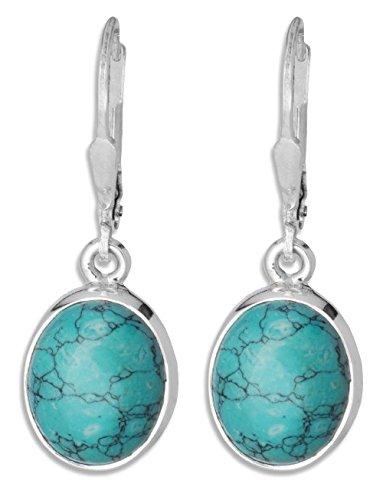 ERCE Türkis Ohrringe oval, 925 Silber, Länge 3 cm - Ohrringe Oval Silber
