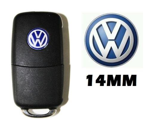 2 * NEW VW 14 mm Aluminum Key Fob Badges Emblem Sticker VW logo