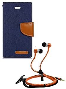 Aart Fancy Wallet Dairy Jeans Flip Case Cover for MotorolaMotoE2 (NavyBlue) + Zipper Earphones/Hands free With Mic *Stylish Design* for all Mobiles- computers & laptops By Aart Store.