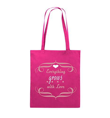 Comedy Bags - Everything grows with Love - Jutebeutel - lange Henkel - 38x42cm - Farbe: Schwarz / Weiss-Neongrün Pink / Rosa-Weiss