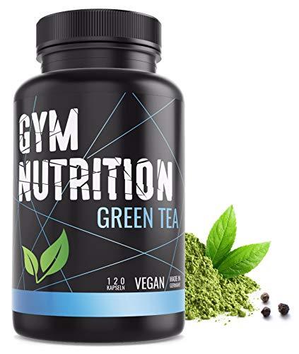 GYM-NUTRITION® - GREEN-TEA Grüntee-Extrakt - Hochdosiert, vegan - Grüner Tee - Laborgeprüft - 2 Monats-Vorrat - 120 Grüntee-Kapseln - Made in Germany