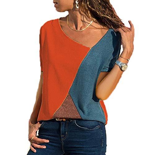 Hochwertiges T-shirt (Yutila Damen Casual Patchwork Farbblock Kurzarm T-Shirt Sommer Mode Asymmetrischer V-Ausschnitt Oberteile, Rot, XL(EU 42))