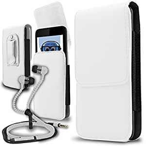 iTALKonline ZTE Grand X IN White PREMIUM PU Leather Vertical Executive Side Pouch Case Cover Holster with Belt Loop Clip and Magnetic Closure