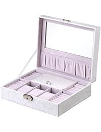 B.Catcher Boîte à bijoux en similicuir blanc, Velours rose, Boîte pour rangement, Coffret élégant à bijoux, pour les Accessoires, avec Miroir dedans