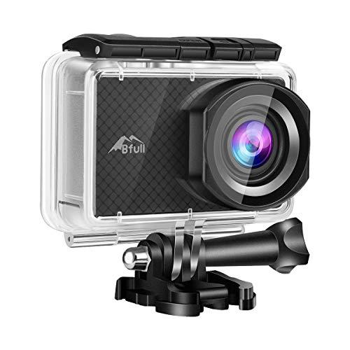 """BFULL 2.45"""" Touchscreen 4K Action Cam, 20MP WiFi Action Ultra HD Sport Camera Unterwasser wasserdicht Camcorder 170° CMOS Sensor 2 bessere Batterien 1050Mah, Tragetasche und Befestigungszubehör"""