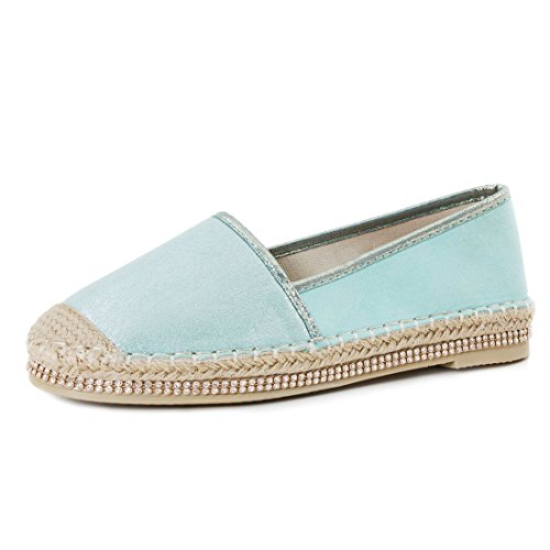Damen Espadrilles Low Top Sommer Slipper Sneaker Metallic Lederoptik Mint Strass