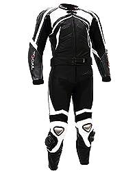 Tschul® Lederkombi Motorradbekleidung Biker Anzug Zweiteiler Motorradkombi Schwarz/Weiß, Size: 48