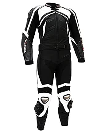 tschul suit en cuir 750 black white combinaison moto en cuir vachette pour homme piste doublure. Black Bedroom Furniture Sets. Home Design Ideas