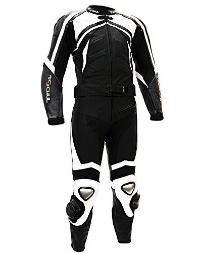 Tschul® Lederkombi Motorradbekleidung Biker Anzug Zweiteiler Motorradkombi Schwarz/Weiß, Size: 50