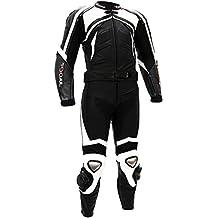 Mono de cuero de piel de 750 Tschul negro/blanco con protección de moto mivall
