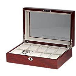 Woolux Chest with Window Box 10 Piece Watch Box For Cherry Wood Finish.