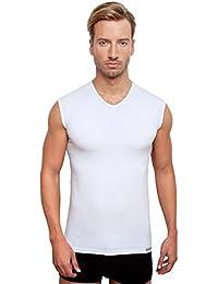 Men's sleeveless vest, v-neck, white
