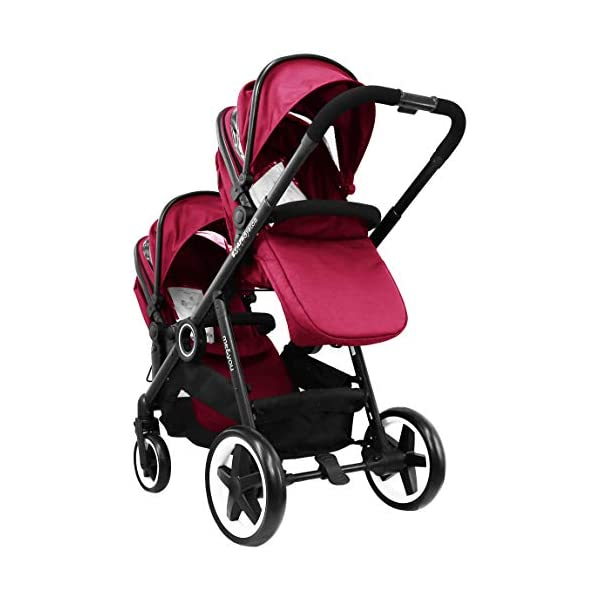 iSafe Tandem Pram me&You - 2 Tone Red (Sienna) iSafe Sleek & Eye Catching Matte Black Chassis, Weighing Only 16Kgs Easy One Second Fold, For Those Parents On The Go Soft Grip Extendable 3 Height Handle, To Suit Parents Of Any Height 4