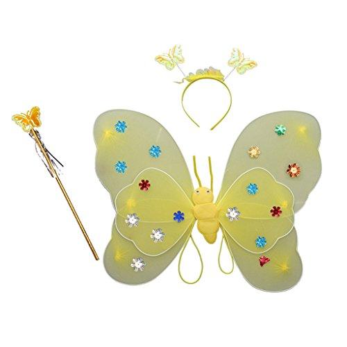 Muster Fee Kostüm - Homyl Mädchen Fee Kostüme mit Flügel Stirnband Kinder Fee Prinzessin Kostüm Set Glitter Muster - Gelb