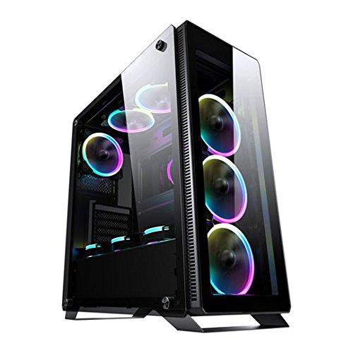 Sahara P35RGB ESG Gläser Gaming ATX-Gehäuse Fall mit 4x Turbo Pirat 12cm true RGB Fall Fans. Wasserkühlung (oben 120mm, 140mm, 240mm, 280mm, Front 120mm, 140mm, 240mm, hinten 120mm), unterstützt 370mm Länge VGA-Karte und 170mm Höhe CPU