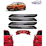 Fabtec Rubber Car Bumper Protector Guard with Chrome Strip for Maruti Baleno (Set of 4) Black (Design-Double Chrome)