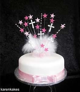 Big et Superbe décoration pour gâteau de baptême communion Rose avec croix