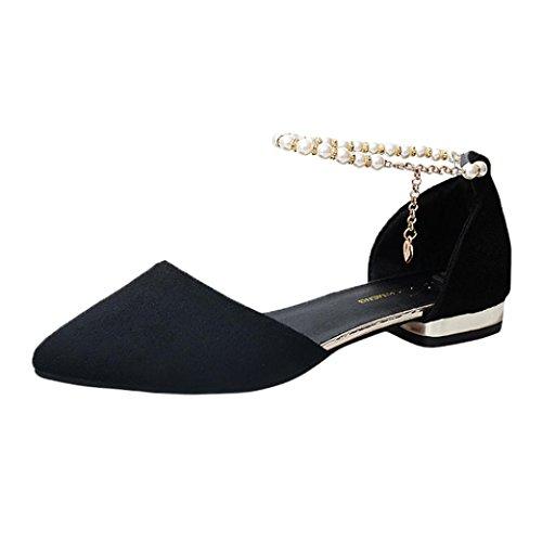 Uomogo® sandali donna fondo piatto rosso bianco giallo testa rotonda tacchi bassi scarpe singole (asia 37, nero)